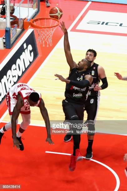 Marcus Slaughter and Alessandro Gentile of Segafredo competes with Awadu Abass Abass of EA7 during the LBA LegaBasket of Serie A match between Virtus...
