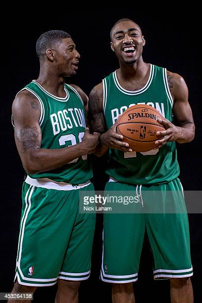 Marcus Smart and James Young of the Boston Celtics pose for a portrait during the 2014 NBA rookie photo shoot at MSG Training Center on August 3 2014...