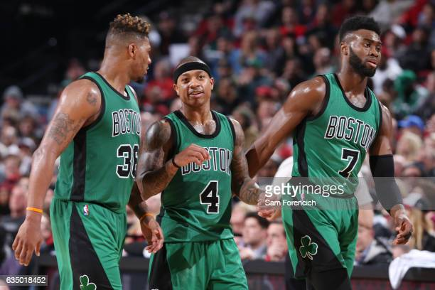 Marcus Smart Isaiah Thomas and Jaylen Brown of the Boston Celtics are seen during the game against the Portland Trail Blazers on February 9 2017 at...