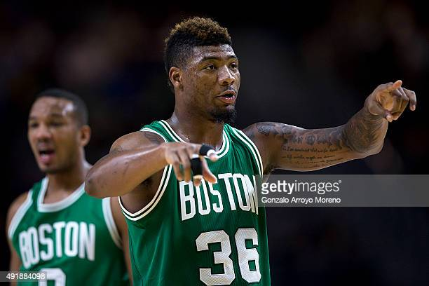 Marcus Smart of Boston Celtics gives instructions to his teammates during the friendlies of the NBA Global Games 2015 basketball match between Real...