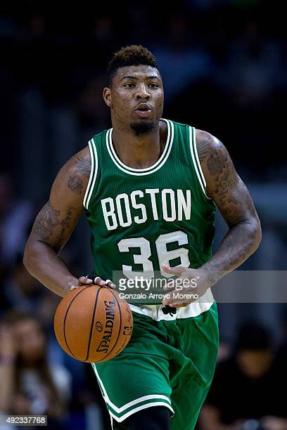 Marcus Smart of Boston Celtics runs with the ball during the friendlies of the NBA Global Games 2015 basketball match between Real Madrid and Boston...