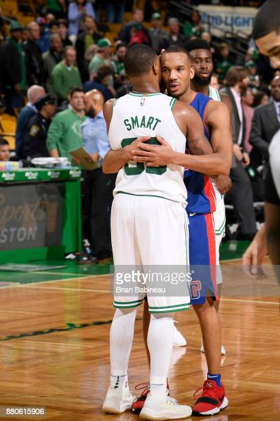 Marcus Smart of the Boston Celtics and Avery Bradley of the Detroit Pistons after the game on November 27 2017 at the TD Garden in Boston...