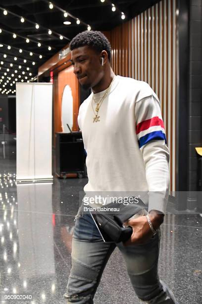 Marcus Smart of the Boston Celtics arrives to the arena prior to Game Five of Round One of the 2018 NBA Playoffs against the Milwaukee Bucks on April...