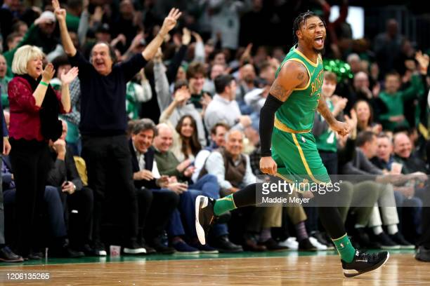 Marcus Smart of the Boston Celtics celebrates after scoring against the LA Clippers at TD Garden on February 13 2020 in Boston Massachusetts The...