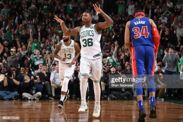 Marcus Smart of the Boston Celtics celebrates during the game against the Detroit Pistons on November 27 2017 at the TD Garden in Boston...