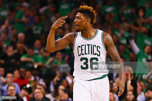 Marcus Smart of the Boston Celtics celebrates during the third quarter of Game Four of the Eastern Conference Quarterfinals against the Atlanta Hawks...