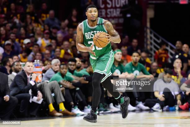 Marcus Smart of the Boston Celtics controls the ball in the first quarter against the Cleveland Cavaliers during Game Three of the 2017 NBA Eastern...