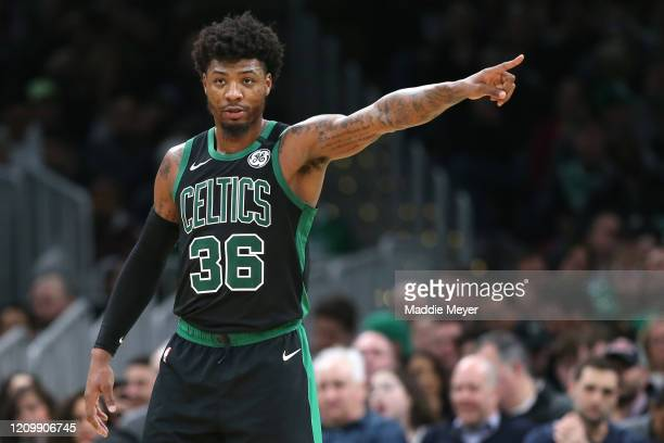 Marcus Smart of the Boston Celtics directs his team during the second half of the game against the Houston Rockets at TD Garden on February 29 2020...