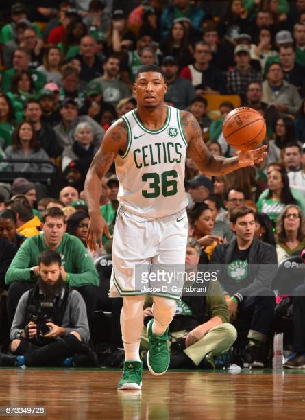 Marcus Smart of the Boston Celtics dribbles up court during the game against the Toronto Raptors on November 12 2017 at the TD Garden in Boston...