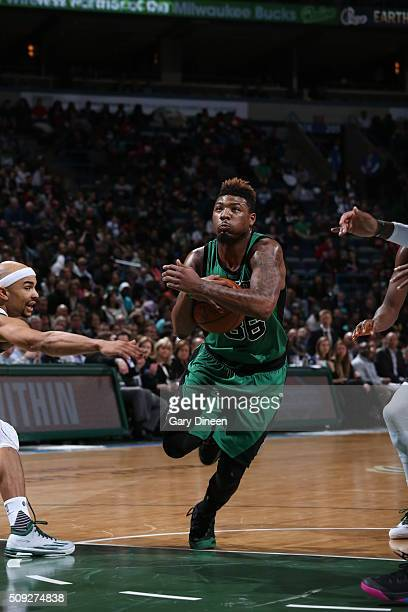 Marcus Smart of the Boston Celtics drives to the basket against the Milwaukee Bucks on February 9 2016 at the BMO Harris Bradley Center in Milwaukee...