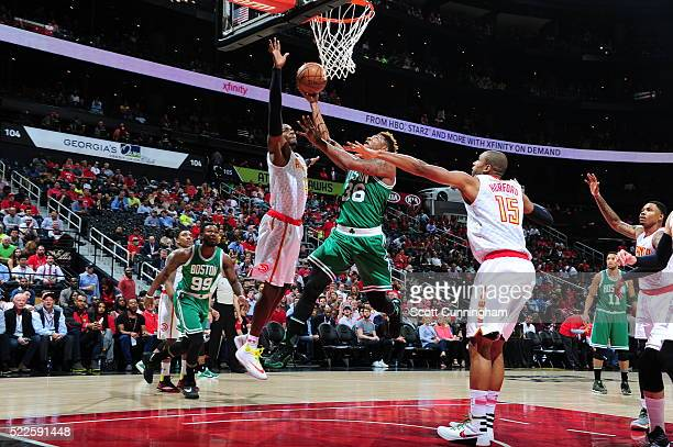 Marcus Smart of the Boston Celtics drives to the basket against the Atlanta Hawks in Game Two of the Eastern Conference Quarterfinals during the 2016...