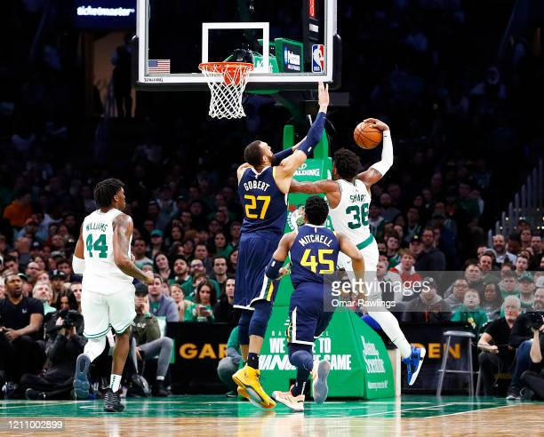 Marcus Smart of the Boston Celtics drives to the basket during the fourth quarter of the game against the Utah Jazz at TD Garden on March 06 2020 in...
