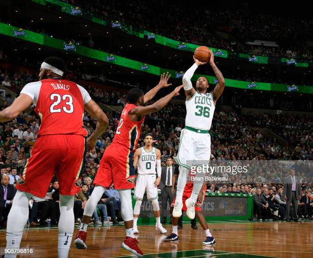 Marcus Smart of the Boston Celtics handles the ball against the New Orleans Pelicans on January 16 2018 at the TD Garden in Boston Massachusetts NOTE...