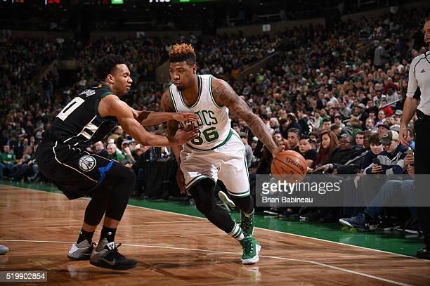 Marcus Smart of the Boston Celtics handles the ball against the Milwaukee Bucks on April 8 2016 at the TD Garden in Boston Massachusetts NOTE TO USER...