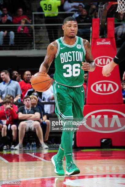 Marcus Smart of the Boston Celtics handles the ball against the Atlanta Hawks on November 18 2017 at Philips Arena in Atlanta Georgia NOTE TO USER...