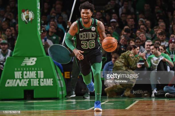 Marcus Smart of the Boston Celtics handles the ball during the game against the Oklahoma City Thunder on March 8 2020 at the TD Garden in Boston...