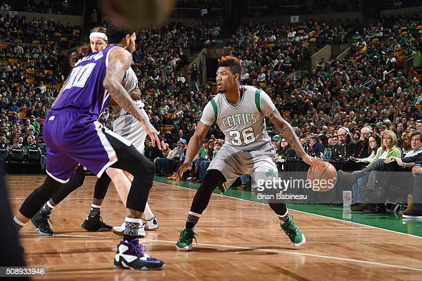 Marcus Smart of the Boston Celtics handles the ball during the game against the Sacramento Kings on February 7 2016 at the TD Garden in Boston...