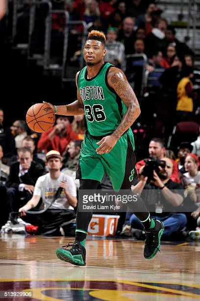 Marcus Smart of the Boston Celtics handles the ball during the game against the Cleveland Cavaliers on March 5 2016 at Quicken Loans Arena in...
