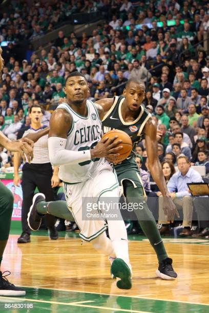 Marcus Smart of the Boston Celtics handles the ball during the game against the Milwaukee Bucks on October 18 2017 at the TD Garden in Boston...