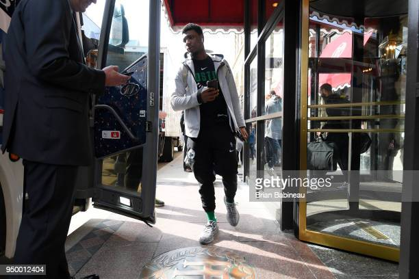 Marcus Smart of the Boston Celtics heads to game against the Milwaukee Bucks in Game Four of Round One of the 2018 NBA Playoffs on April 22 2018 at...