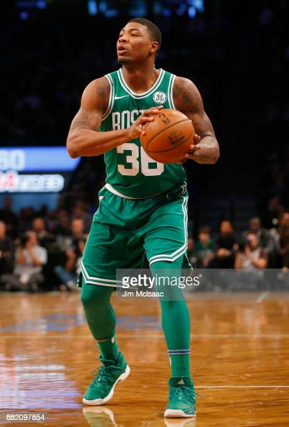 Marcus Smart of the Boston Celtics in action against the Brooklyn Nets at Barclays Center on November 14 2017 in the Brooklyn borough of New York...
