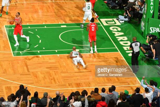 Marcus Smart of the Boston Celtics is pumped up after a play during the game against the Houston Rockets on December 28 2017 at the TD Garden in...
