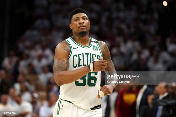 Marcus Smart of the Boston Celtics looks on after being defeated by the Cleveland Cavaliers during Game Six of the 2018 NBA Eastern Conference Finals...