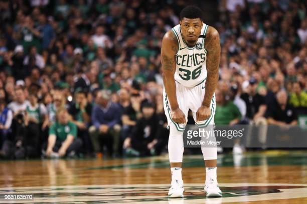 Marcus Smart of the Boston Celtics looks on during Game Seven of the 2018 NBA Eastern Conference Finals against the Cleveland Cavaliers at TD Garden...