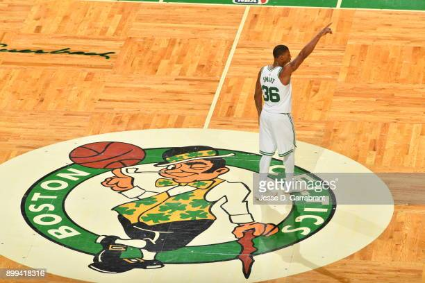Marcus Smart of the Boston Celtics looks on during the game against the Houston Rockets on December 28 2017 at the TD Garden in Boston Massachusetts...