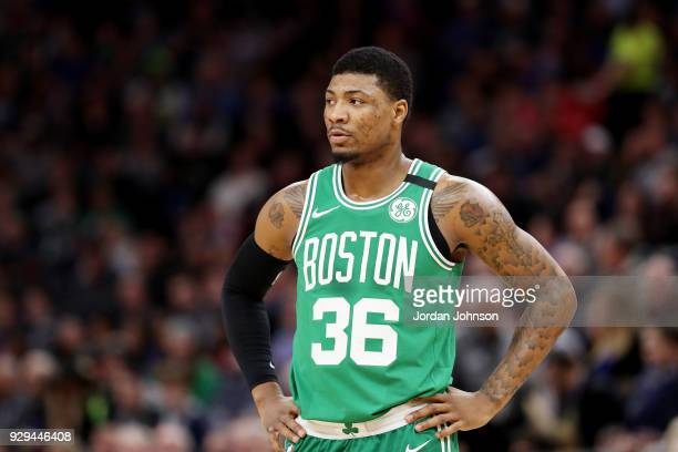 Marcus Smart of the Boston Celtics looks on during the game against the Minnesota Timberwolves on March 8 2018 at Target Center in Minneapolis...