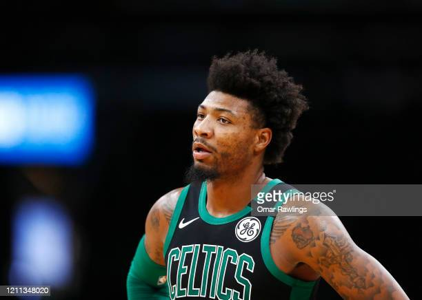 Marcus Smart of the Boston Celtics looks on during the second quarter of the game against the Oklahoma City Thunder at TD Garden on March 08 2020 in...