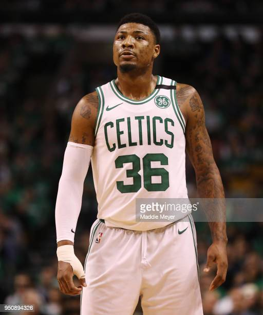 Marcus Smart of the Boston Celtics looks on during the second quarter against the Milwaukee Bucks in Game Five in Round One of the 2018 NBA Playoffs...