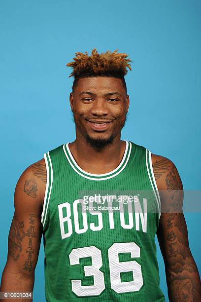 Marcus Smart of the Boston Celtics poses for a head shot during the 20162017 Boston Celtics Media Day on September 26 2016 at the TD Garden in Boston...