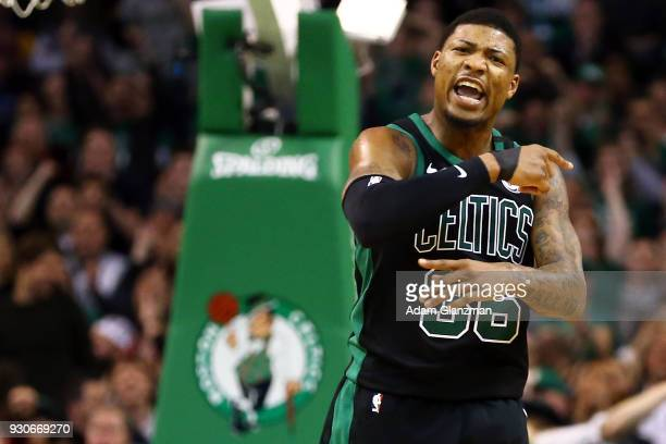 Marcus Smart of the Boston Celtics reacts during a game against the Indiana Pacers at TD Garden on March 11 2018 in Boston Massachusetts NOTE TO USER...