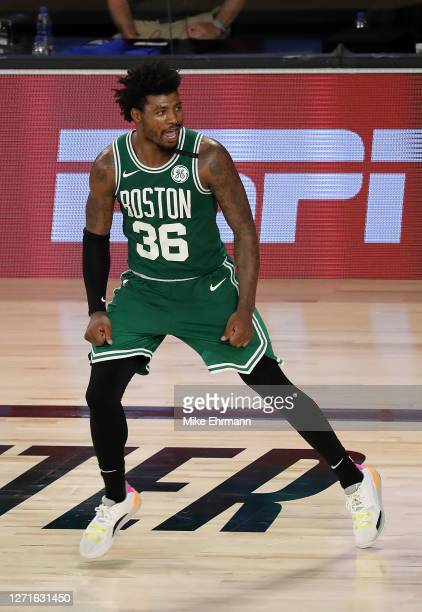 Marcus Smart of the Boston Celtics reacts during double overtime against the Toronto Raptors in Game Six of the Eastern Conference Second Round...