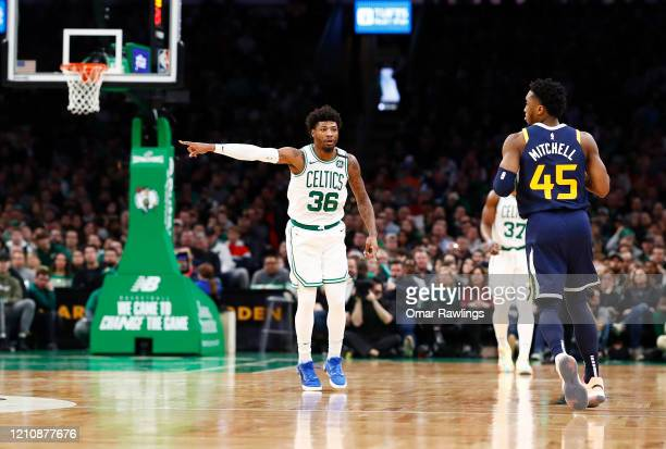 Marcus Smart of the Boston Celtics reacts during the second quarter of the game against the Utah Jazz at TD Garden on March 06 2020 in Boston...