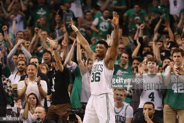 Marcus Smart of the Boston Celtics reacts in the second half against the Cleveland Cavaliers during Game Five of the 2018 NBA Eastern Conference...