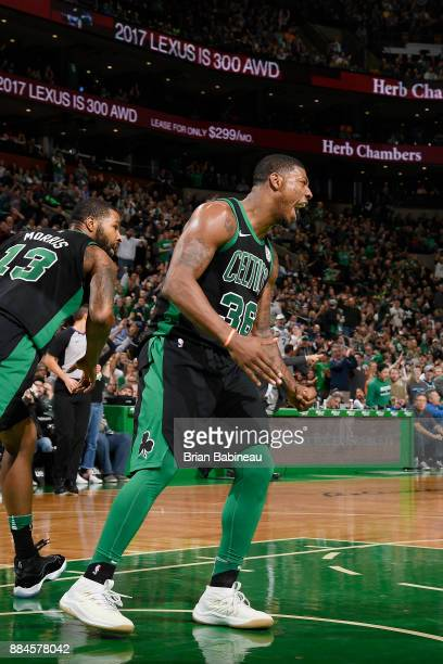 Marcus Smart of the Boston Celtics reacts on the court against the Phoenix Suns on December 2 2017 at the TD Garden in Boston Massachusetts NOTE TO...