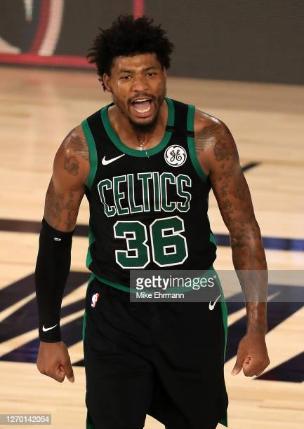 Marcus Smart of the Boston Celtics reacts to a call during the fourth quarter against the Toronto Raptors in Game Two of the Eastern Conference...