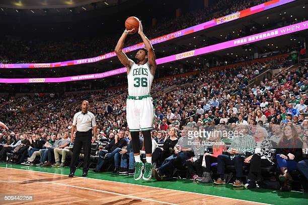 Marcus Smart of the Boston Celtics shoots against the Los Angeles Clippers on February 10 2016 at the TD Garden in Boston Massachusetts NOTE TO USER...