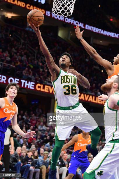 Marcus Smart of the Boston Celtics shoots during the second half against the Cleveland Cavaliers at Quicken Loans Arena on March 26 2019 in Cleveland...