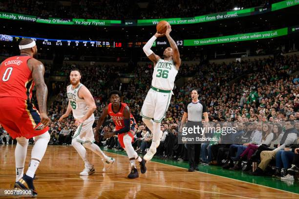 Marcus Smart of the Boston Celtics shoots the ball against the New Orleans Pelicans on January 16 2018 at the TD Garden in Boston Massachusetts NOTE...