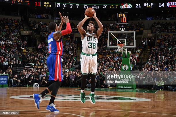 Marcus Smart of the Boston Celtics shoots the ball against the Detroit Pistons on February 3 2016 at the TD Garden in Boston Massachusetts NOTE TO...