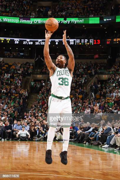Marcus Smart of the Boston Celtics shoots the ball against the San Antonio Spurs on October 30 2017 at the TD Garden in Boston Massachusetts NOTE TO...