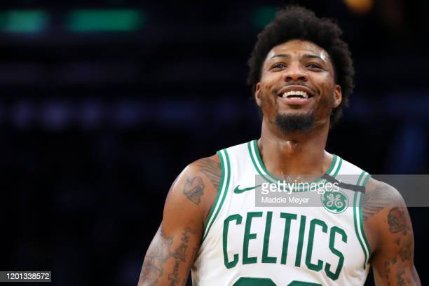 Marcus Smart of the Boston Celtics smiles during the game against the Memphis Grizzlies at TD Garden on January 22 2020 in Boston Massachusetts The...