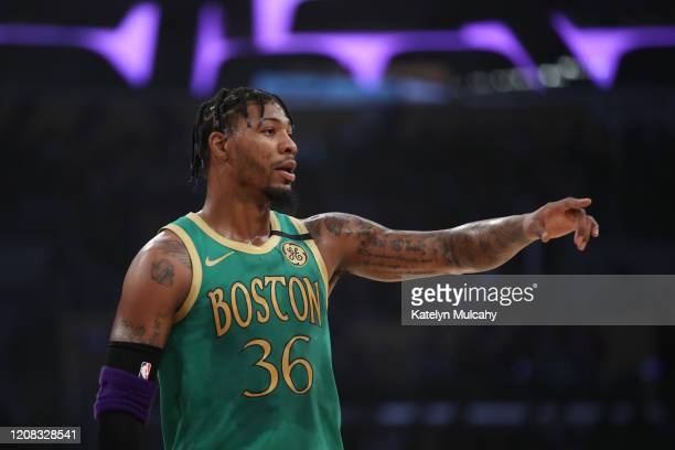 Marcus Smart of the Boston Celtics stands on the court during the game against the Los Angeles Lakers at Staples Center on February 23 2020 in Los...