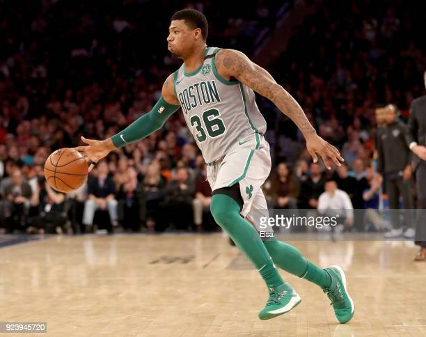 Marcus Smart of the Boston Celtics takes the ball in the second half against the New York Knicks at Madison Square Garden on February 242018 in New...