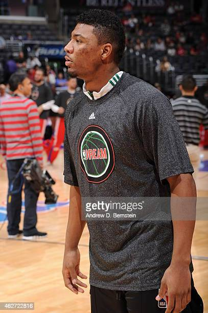 Marcus Smart of the Boston Celtics warms up before a game against the Los Angeles Clippers at STAPLES Center on January 19 2015 in Los Angeles...