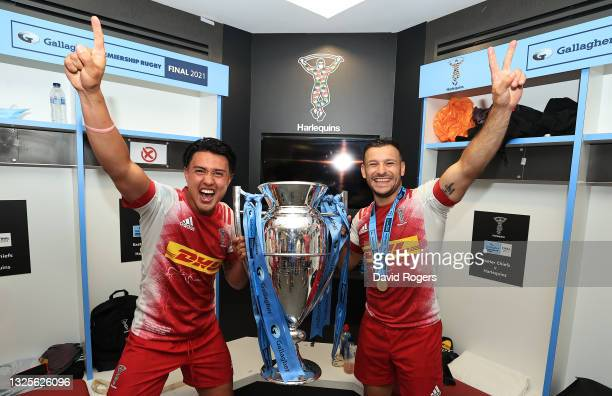 Marcus Smith and Danny Care of Harlequins celebrate with the trophy following their side's victory during the Gallagher Premiership Rugby Final...
