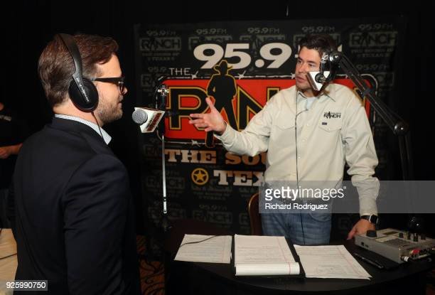 Marcus Smith COO of Speedway Motorsports does a radio interview with Andy Meadows of 959 FM The Ranch during Media Day at Texas Motor Speedway on...